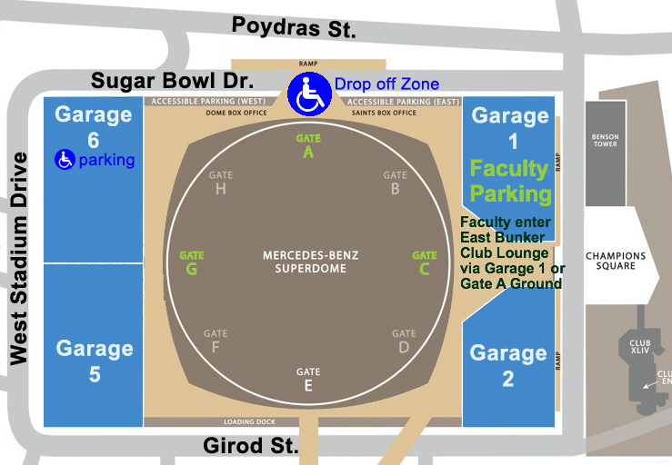 map of Superdome and garage parking