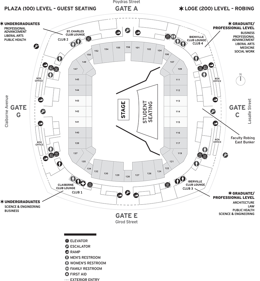 Map of the Mercedes-Benz Superdome showing robing room locations